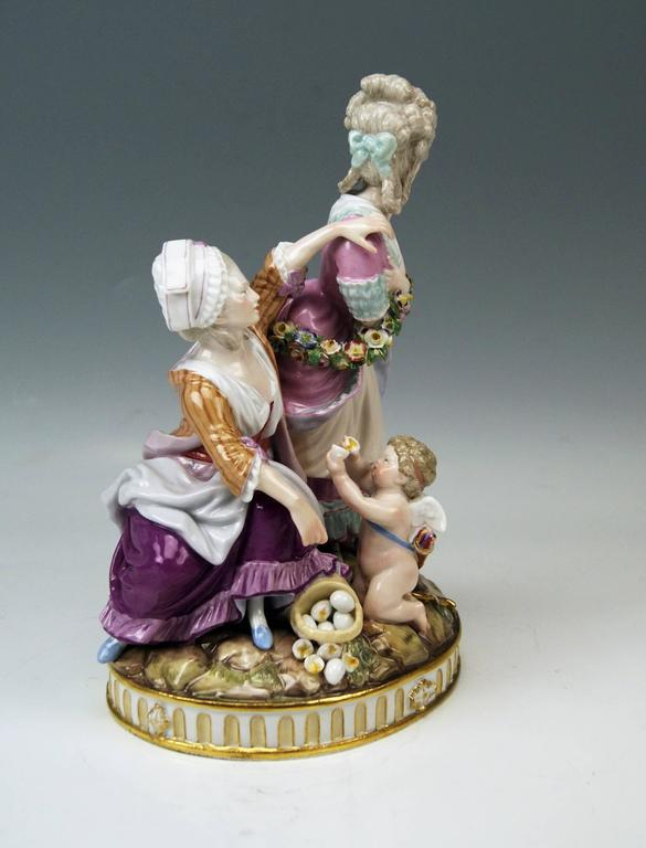Rococo Meissen Tall Figurines Group, the Broken Eggs by Acier Model F65, circa 1870 For Sale