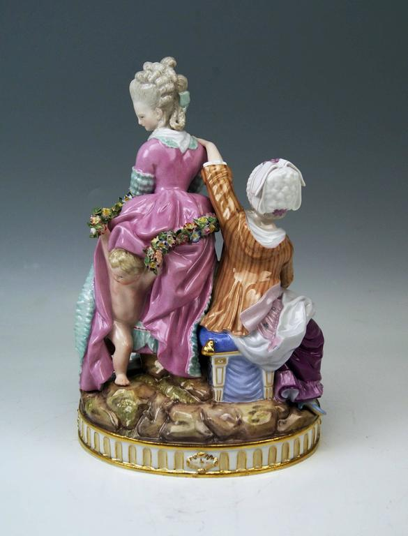 German Meissen Tall Figurines Group, the Broken Eggs by Acier Model F65, circa 1870 For Sale