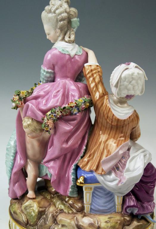 Meissen Tall Figurines Group, the Broken Eggs by Acier Model F65, circa 1870 8