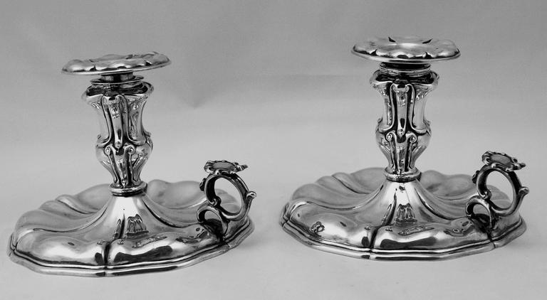 Gorgeous Italian Silver Pair of Nicest Candlesticks of finest manufacturing quality as well as of most elegant appearance. These candlesticks were made during HIGH VICTORIAN  PERIOD  (c.1875-80): They are stunningly made in following manner