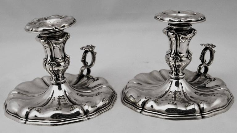 Silver Italian Pair of Candlesticks, Made circa 1875-1880  In Excellent Condition For Sale In Vienna, AT