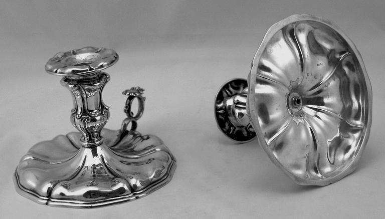 Late 19th Century Silver Italian Pair of Candlesticks, Made circa 1875-1880  For Sale