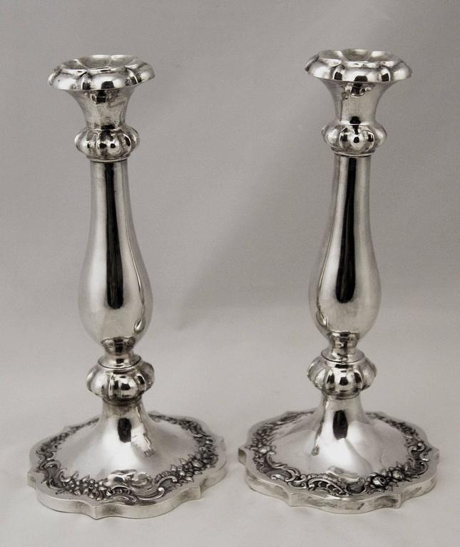 Silver 13 Lot Austrian Nicest Biedermeier Pair of Candlesticks, Vienna Made 1846 8