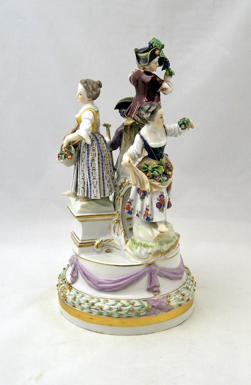 Meissen gorgeous figurine group of stunning appearance: There are four gardener children of most lovely appearance visible.   Manufactory: Meissen. Dating: Third quarter of 19th century / made circa 1870. Blue Meissen sword mark with pommels on