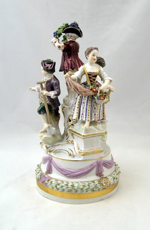 German Meissen Gorgeous Figurine Group Four Gardener Children by Kaendler, circa 1870 For Sale