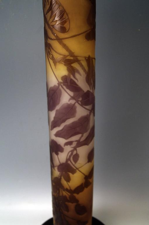 Galle Nancy Huge Art Nouveau Stalky Vase Wysteria, ca 1904, Height:29.33 inches 5