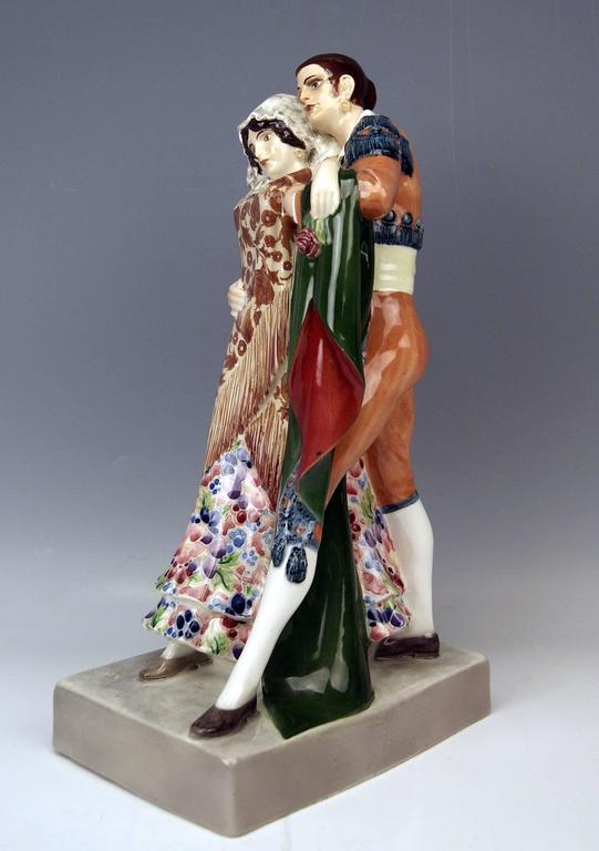 Goldscheider Vienna Dancing Spanish Couple by Karl Perl, circa 1922 2