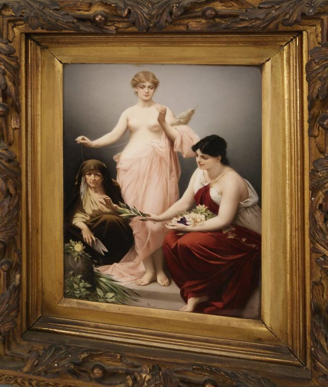 Romantic KPM Berlin Picture Plate the Three Fates by Paul Thumann, circa 1880 For Sale