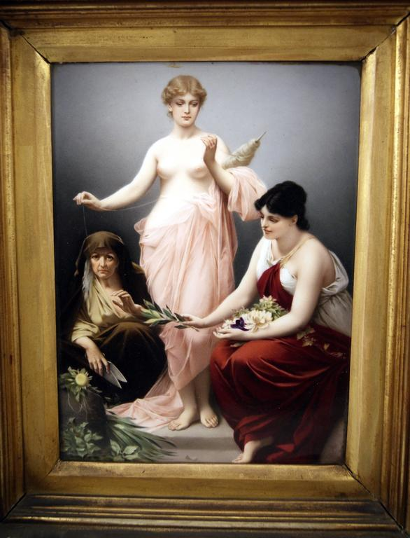 German KPM Berlin Picture Plate the Three Fates by Paul Thumann, circa 1880 For Sale
