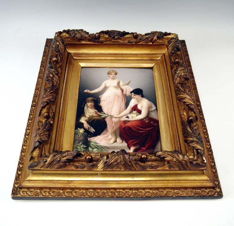 Painted KPM Berlin Picture Plate the Three Fates by Paul Thumann, circa 1880 For Sale