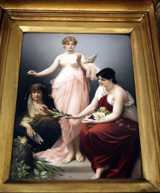 KPM Berlin Picture Plate the Three Fates by Paul Thumann, circa 1880 For Sale 1