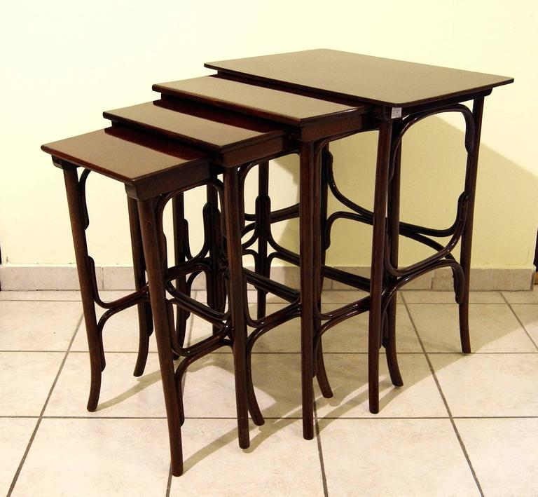 Stained Thonet Art Nouveau Vienna Nesting Tables Four Pieces Model Number 10, circa 1905 For Sale