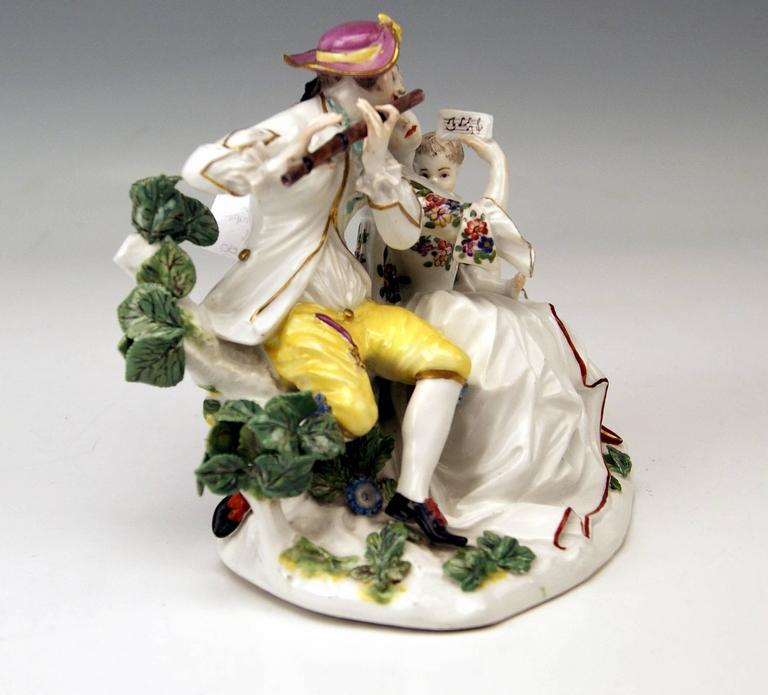 Rococo Meissen Rarest Figurines Musical Family with Baby Suckling by Eberlein ca: 1750 For Sale