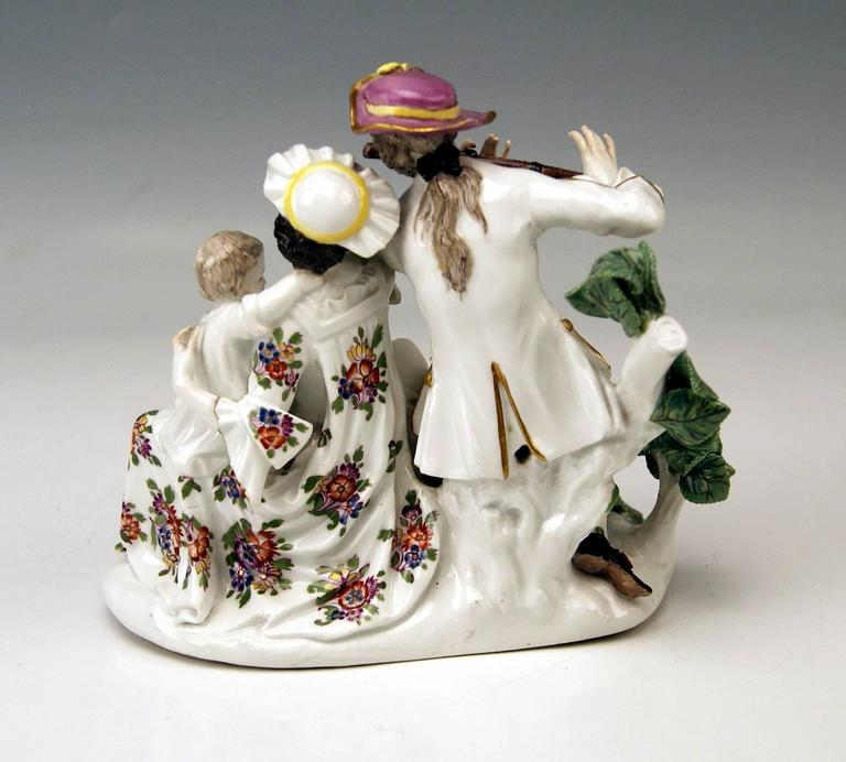 German Meissen Rarest Figurines Musical Family with Baby Suckling by Eberlein ca: 1750 For Sale