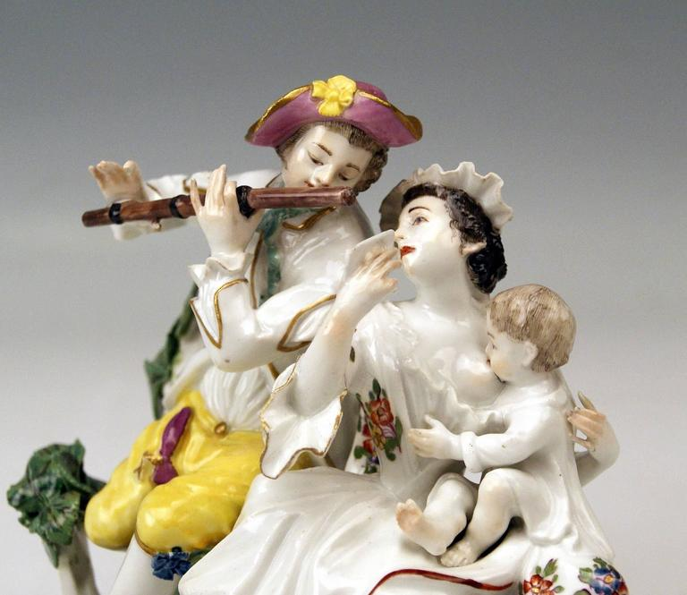 Painted Meissen Rarest Figurines Musical Family with Baby Suckling by Eberlein ca: 1750 For Sale