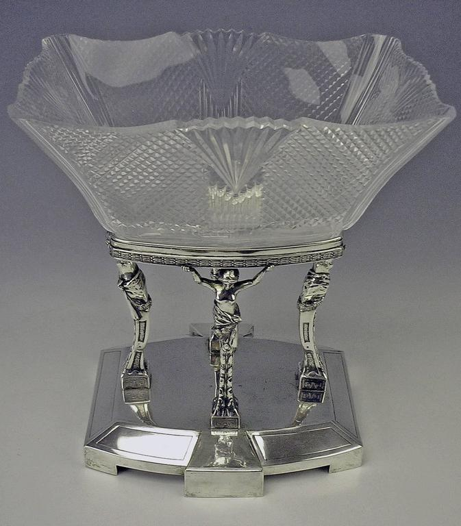 Silver antique Art Nouveau nicest and tall centrepiece with gorgeous glass bowl, manufactured in old imperial Austria (Prague).  Dating: circa 1900-1905  Silver 800 (hallmarked by old imperial Austrian stamp 1872-1922, So-said Diana's head mark,