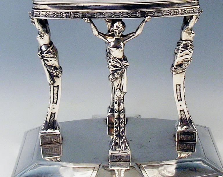 Carved Silver Antique Austrian Art Nouveau Tall Centrepiece Gorgeous Glass Bowl, c.1900 For Sale
