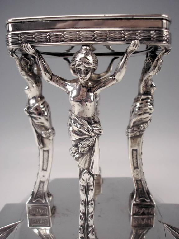 Early 20th Century Silver Antique Austrian Art Nouveau Tall Centrepiece Gorgeous Glass Bowl, c.1900 For Sale