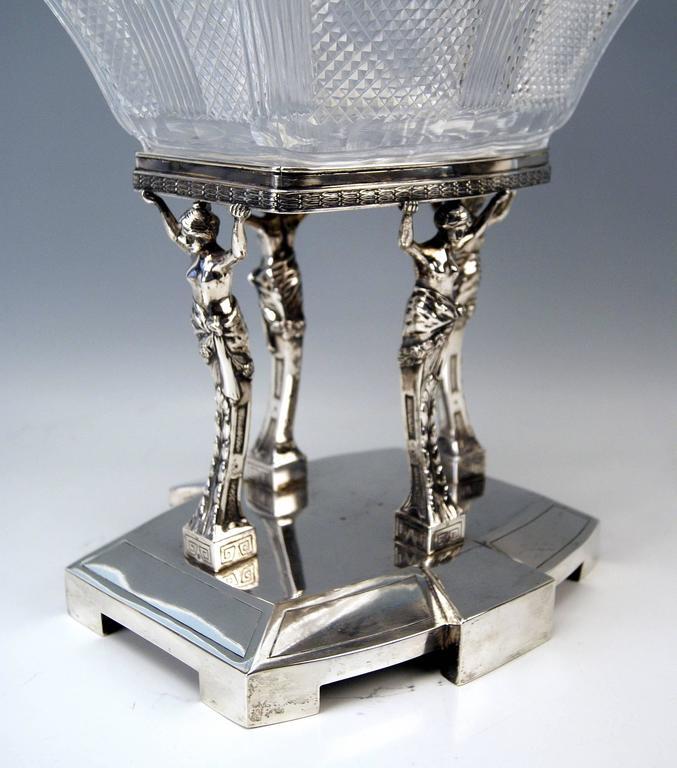 Silver Antique Austrian Art Nouveau Tall Centrepiece Gorgeous Glass Bowl, c.1900 For Sale 1
