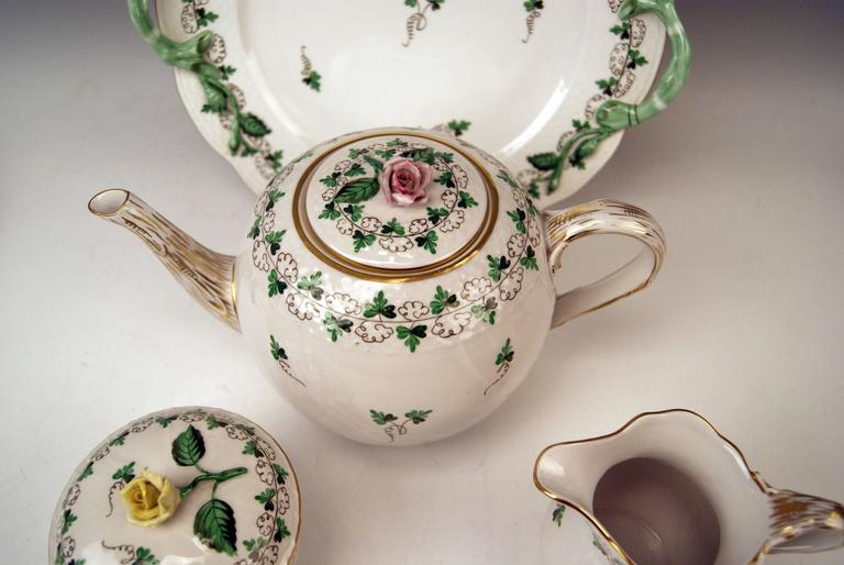 Hungarian Herend Tea Set for Six Persons Decor Persil, circa 1960 For Sale