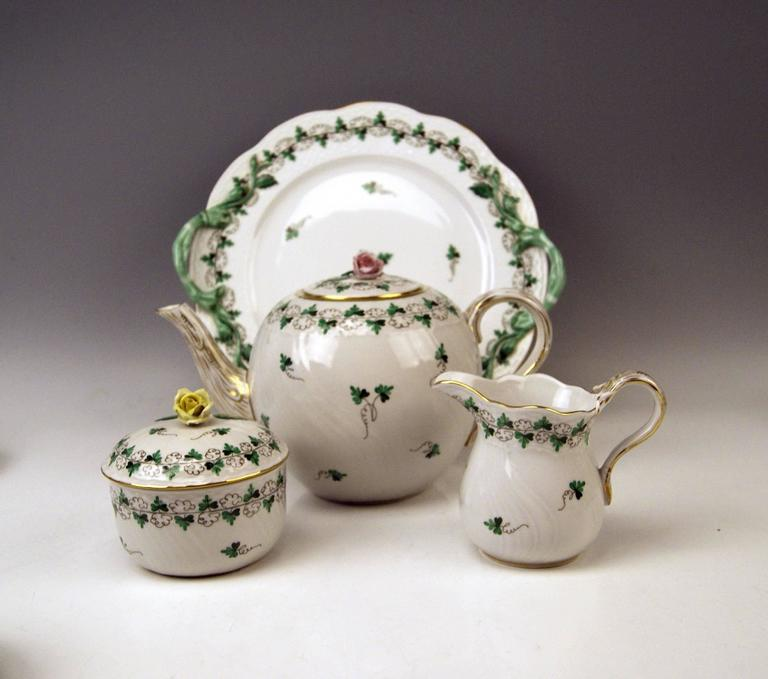Painted Herend Tea Set for Six Persons Decor Persil, circa 1960 For Sale