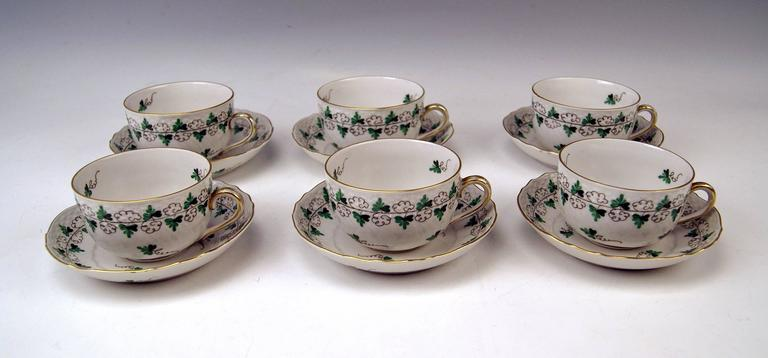 Herend Tea Set for Six Persons Decor Persil, circa 1960 In Excellent Condition For Sale In Vienna, AT