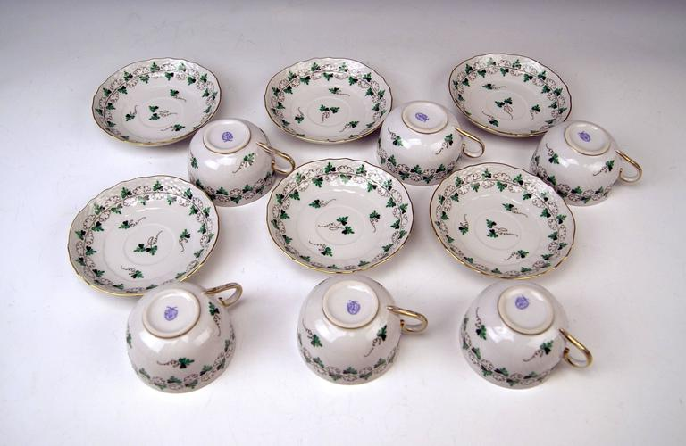 20th Century Herend Tea Set for Six Persons Decor Persil, circa 1960 For Sale