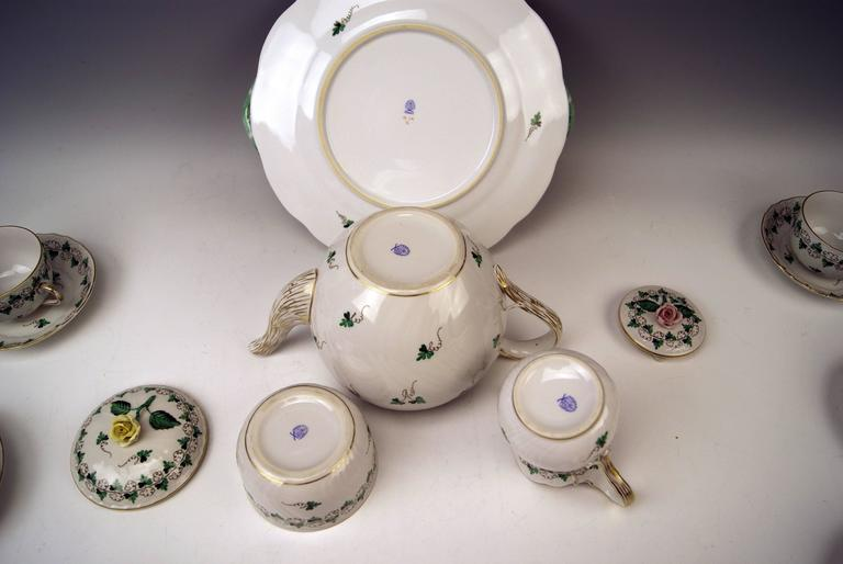 Herend Tea Set for Six Persons Decor Persil, circa 1960 For Sale 1