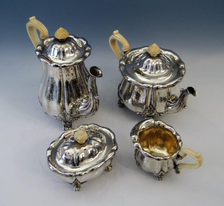 Silver Hanau Coffee Tea Set Baroque Style Made by Schleissner Germany Circa 1890 In Excellent Condition For Sale In Vienna, AT