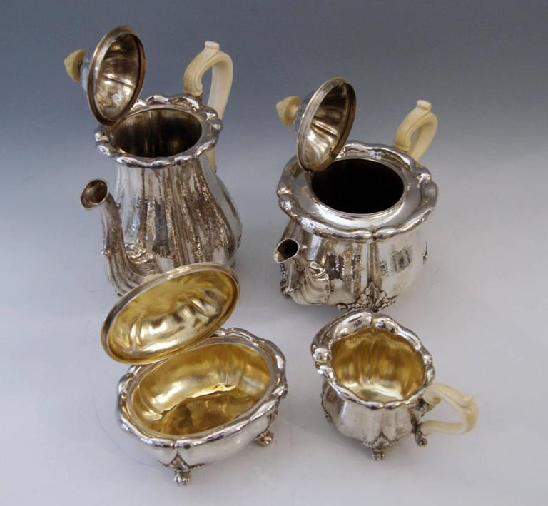 19th Century Silver Hanau Coffee Tea Set Baroque Style Made by Schleissner Germany Circa 1890 For Sale