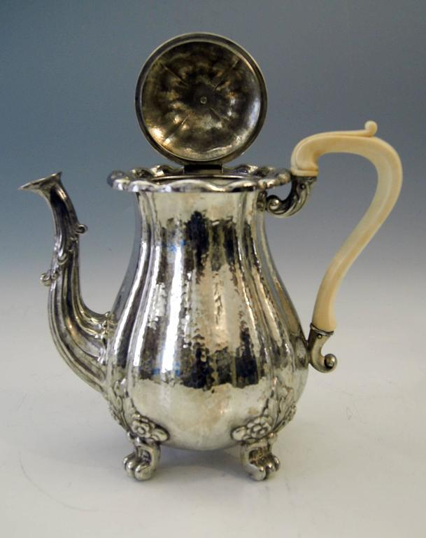 Bone Silver Hanau Coffee Tea Set Baroque Style Made by Schleissner Germany Circa 1890 For Sale