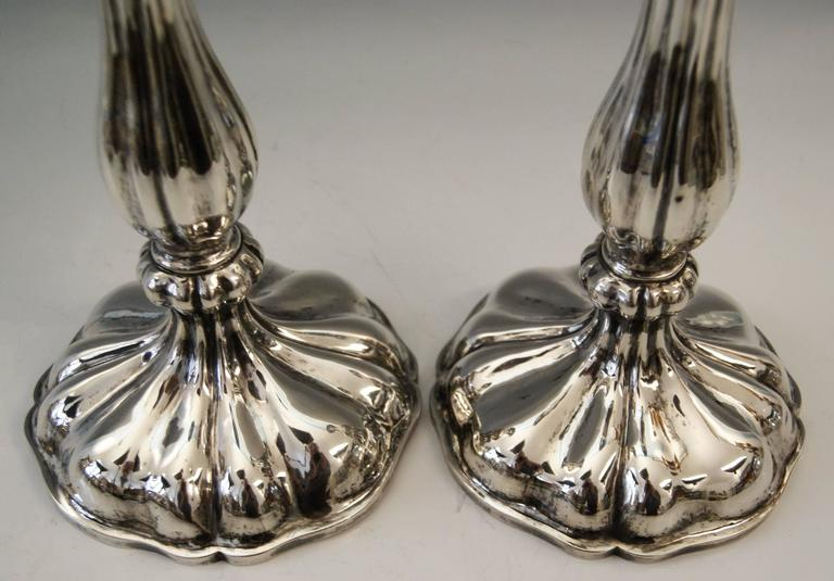 Silver 13 Lot Austrian Pair of Candlesticks Vienna by Master J.Wiederspoeck 1855 In Excellent Condition For Sale In Vienna, AT