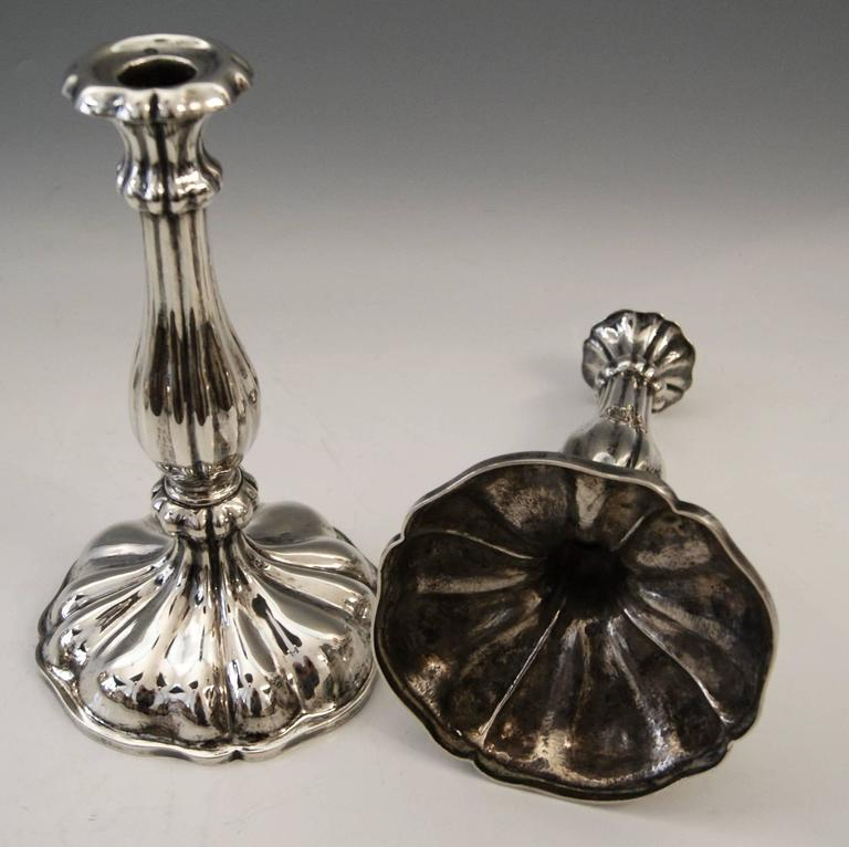 19th Century Silver 13 Lot Austrian Pair of Candlesticks Vienna by Master J.Wiederspoeck 1855 For Sale