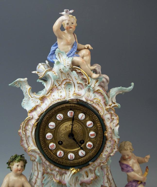 Manufactory: Meissen. Dating: 19th century / made circa 1860-1870. Material: White porcelain, glossy finish, finest painting. Technique: Handmade porcelain.  Detailed description: Meissen gorgeous table clock of finest manufacturing.  This