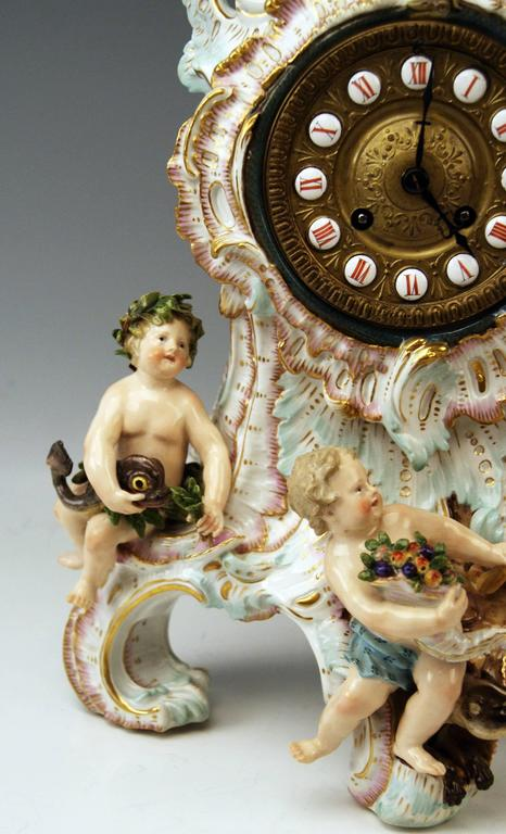 Rococo Meissen Gorgeous Mantle /Table Clock Four Elements Sculptured Cherubs circa 1860 For Sale