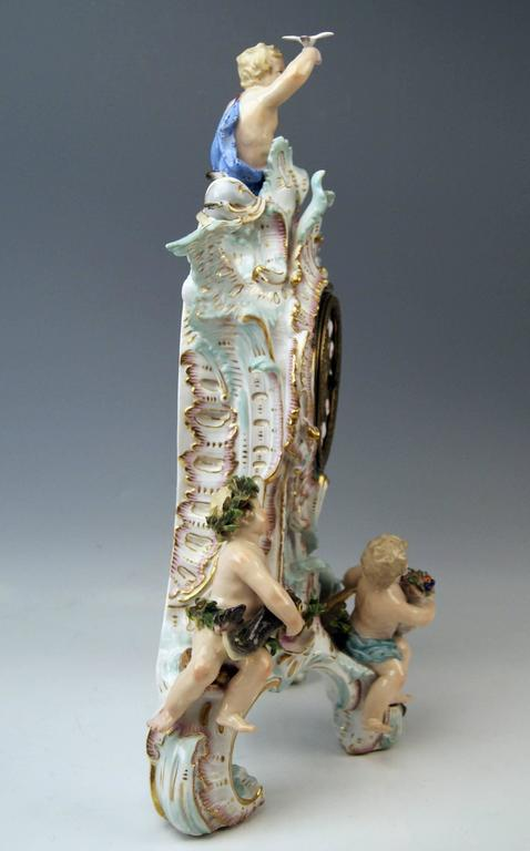 Porcelain Meissen Gorgeous Mantle /Table Clock Four Elements Sculptured Cherubs circa 1860 For Sale
