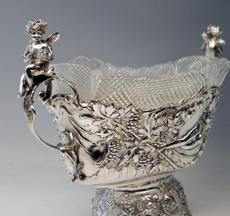 Silver Austrian huge flower bowl/centrepiece. With original gorgeous glass liner. Length: 49.0 cm (=19.29 inches)!  Made during turn of century,(circa 1900.) Silver800. branded by Austrian Official Punch (so-said Diana's Head Mark /