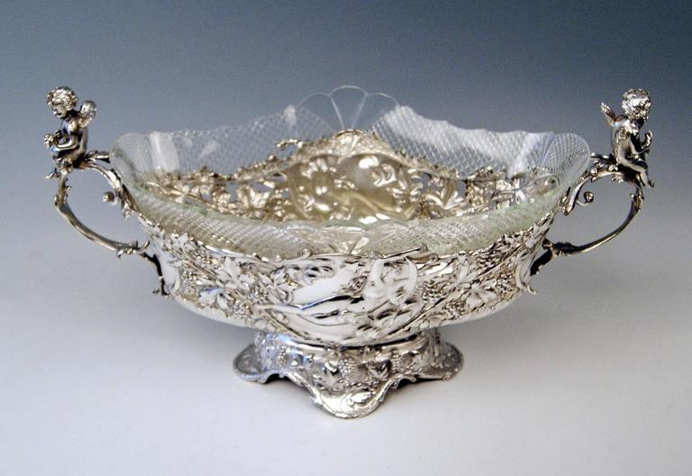 Late Victorian Silver Austrian Huge Flower Bowl Original Glass Karl Jedlicka Vienna, circa 1900 For Sale