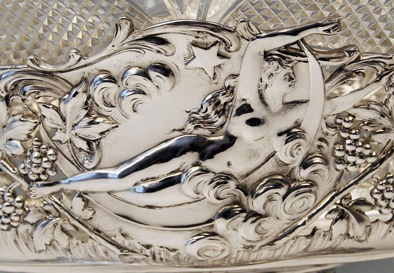 19th Century Silver Austrian Huge Flower Bowl Original Glass Karl Jedlicka Vienna, circa 1900 For Sale