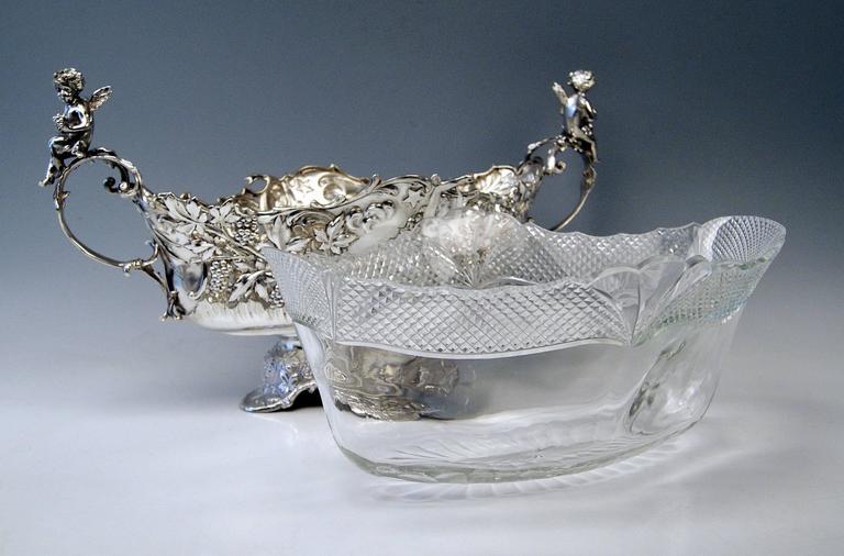 Silver Austrian Huge Flower Bowl Original Glass Karl Jedlicka Vienna, circa 1900 For Sale 1