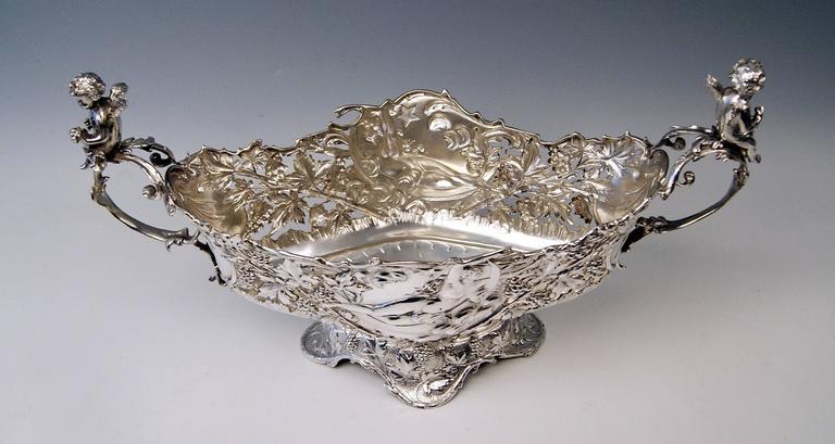 Silver Austrian Huge Flower Bowl Original Glass Karl Jedlicka Vienna, circa 1900 For Sale 4