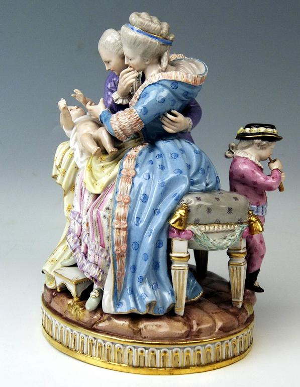 Meissen gorgeous figurine group: Called 'the lucky parents', created by Michel Victor Acier (1772-1775).  Manufactory: Meissen. Hallmarked: Blue Meissen Sword Mark (underglazed). First quality Dating: Made, circa 1860-1870. Material: