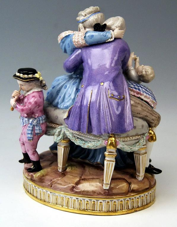 Rococo Meissen Stunning Figurines the Lucky Parents Model E81 by M. V. Acier, c.1860 For Sale