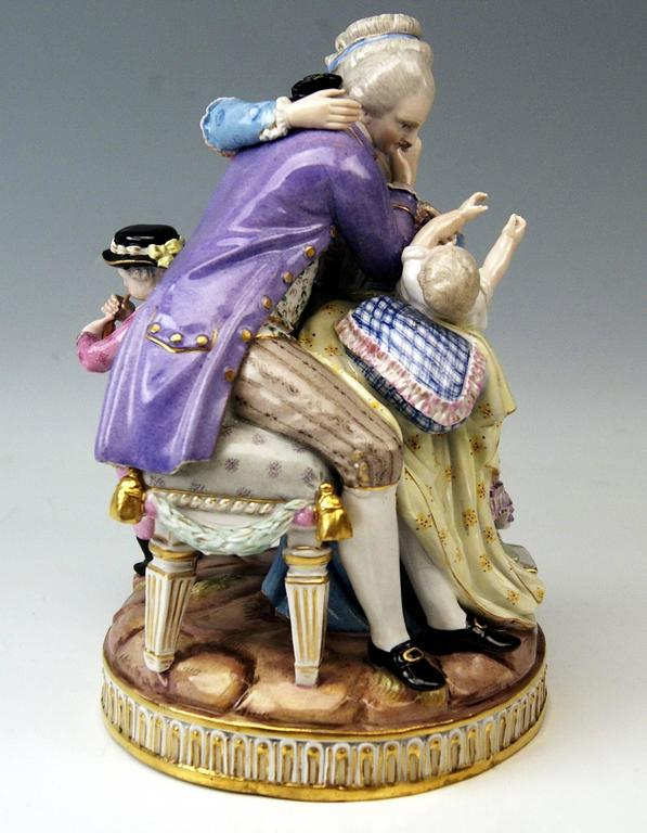 German Meissen Stunning Figurines the Lucky Parents Model E81 by M. V. Acier, c.1860 For Sale