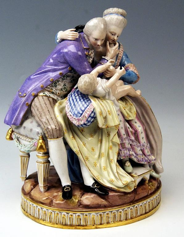 Glazed Meissen Stunning Figurines the Lucky Parents Model E81 by M. V. Acier, c.1860 For Sale