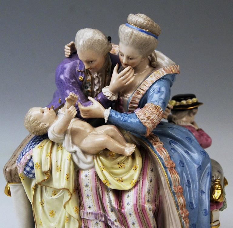 Meissen Stunning Figurines the Lucky Parents Model E81 by M. V. Acier, c.1860 In Excellent Condition For Sale In Vienna, AT