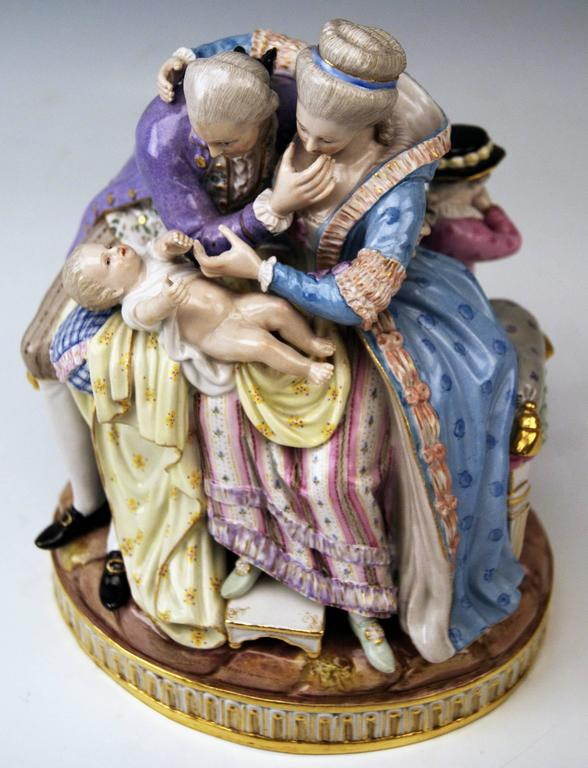 19th Century Meissen Stunning Figurines the Lucky Parents Model E81 by M. V. Acier, c.1860 For Sale