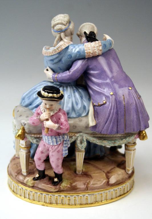 Porcelain Meissen Stunning Figurines the Lucky Parents Model E81 by M. V. Acier, c.1860 For Sale