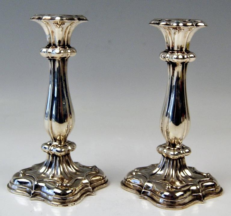 Austrian-Hungarian excellent Biedermeier silver pair of candlesticks.