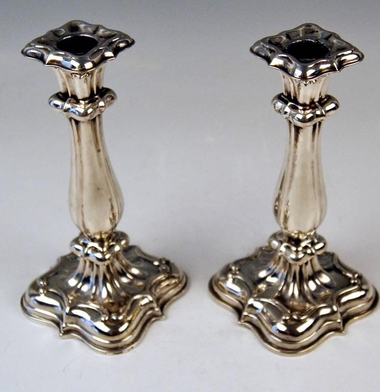 Hungarian Silver 13 Lot Pair of Biedermeier Candlesticks Budapest Hungary Made 1840-1850 For Sale